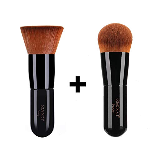 Foundation Makeup Brush Flat Kabuki Face Make Up Powder Stippling Concealer Brushes Natural Professional for Liquid BB Cream Blending Mineral Travel Cosmetic Tool Gift Kit (Black)
