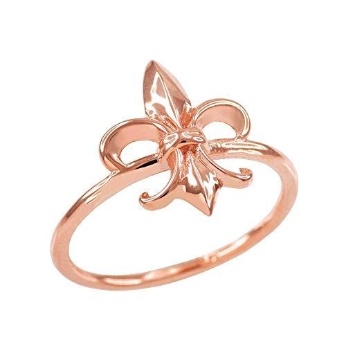 Dainty 10k Rose Gold Fleur-de-Lis Ring (Size 7)