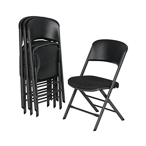 Lifetime 480621 Contemporary Padded Folding Chairs (4 Pack), Charcoal Gray by Lifetime