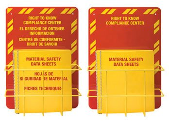 Horizon 3024 English MSDS Right-To-Know Center, 3'' Ring, Red on Yellow, Holds 600 Sheets (Case of 3)