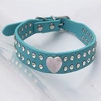 LKJYBG - Collar de perro con diamantes de imitación, collar de cuero suave ajustable para perros y gatos pequeños y…