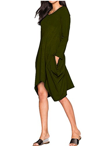 Womens Round Neck Casual Side Slits Long Tops (Coffee) - 7