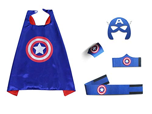 Halloween Superhero Costumes for Kids Superhero Dress Up with Capes Mask Wristband Waist Belt for Girls Boys Birthday Party Favors (Captain America, 5 Piece Set) -