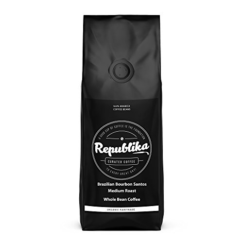 Republika Coffee Fairtrade Low-Acid Organic Coffee (Brazilian Bourbon Santos Medium Whole Bean Coffee, 2 lb)