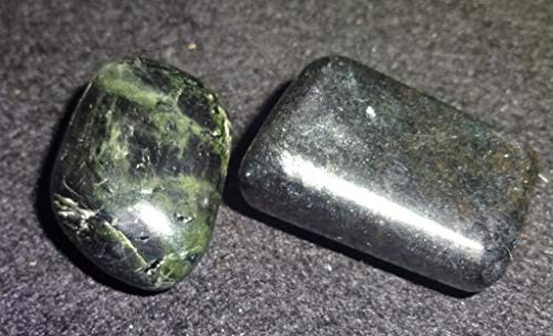 - Sublime Gifts Diopside 2pc #2 Rare Green Chrome Diopside from Russia / Tumbled & Hand Polished / Natural Healing Crystal Gemstone Collectible , Display or Wrapping Stone