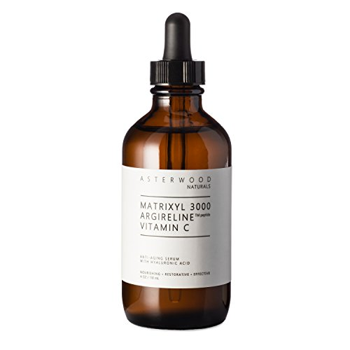 MATRIXYL 3000 + ARGIRELINE Peptide + Vitamin C 4 oz Serum with Organic Hyaluronic Acid - Reduce Sun Spots, Wrinkles, Our Most Powerful Triple Combination - ASTERWOOD NATURALS - Bottle
