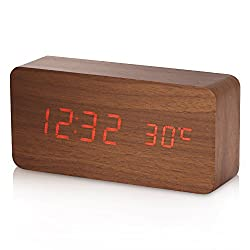 Alarm Clock, Yokkao Wooden Digital Rechargeable Led Desk Clock Touch Sound Sensor Voice Control Built-in Temperature for Home and office