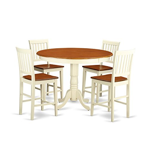 East West Furniture TRVN5-WHI-W 5 Piece Counter Height Pub T