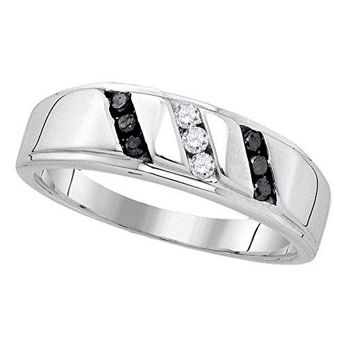 Sterling Silver Mens Round Black Color Enhanced Diamond Wedding Band Ring 1/4 Cttw by Saris and Things