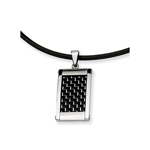 - ICE CARATS Stainless Steel Silver/Black Carbon Fiber Inlay 18 Inch Leather Link Cord Chain Necklace Pendant Charm Dogtag Fashion Jewelry Gifts for Women for Her