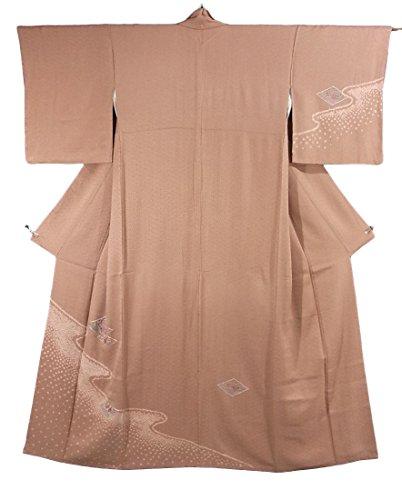 リサイクル 着物 付下 刺繍 菱取りに菊の花 正絹 袷 裄65cm 身丈161cm