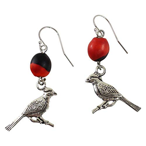 Peruvian Cardinal Gift Red Earrings for Women - Meaningful Good Luck Huayruro Red & Black Seed- Dangles - Ecofriendly by ()