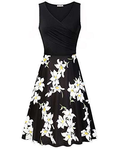- KILIG Women's V Neck Sleeveless Patchwork Floral Print Summer Casual Elegant Midi Dress(Floral-08,L)