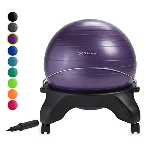 Gaiam Classic Backless Balance Ball Chair – Exercise Stability Yoga Ball Premium Ergonomic Chair for Home and Office Desk with Air Pump, Exercise Guide and Satisfaction Guarantee, Purple