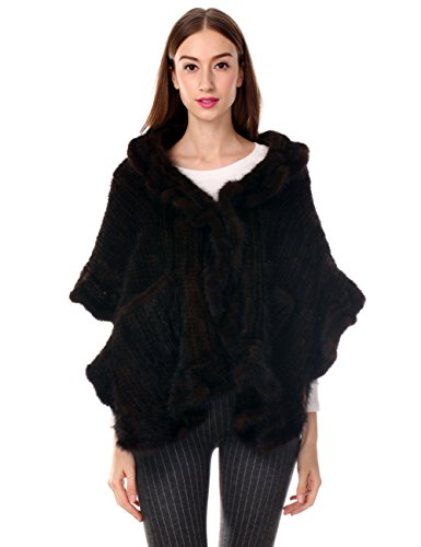 Ferand Knitted Real Mink Fur Ruffled Shawl Stole with 2 Pockets for Women, Brown by Ferand