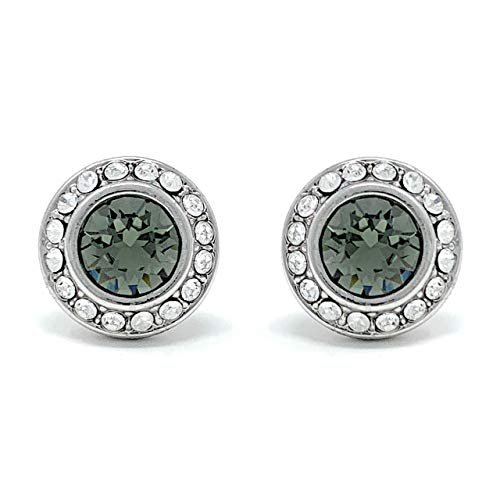 (Ed Heart Halo Pave Stud Earrings with Black Diamond Round Crystals from Swarovski Silver Toned Rhodium Plated)