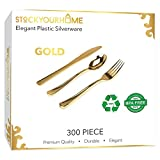 300 Gold Plastic Silverware - Gold Disposable Silverware - Gold Plastic Cutlery - Gold Plastic Utensils - Gold Plasticware - 100 Gold Plastic Forks, 100 Gold Plastic Spoons, 100 Gold Plastic Knives