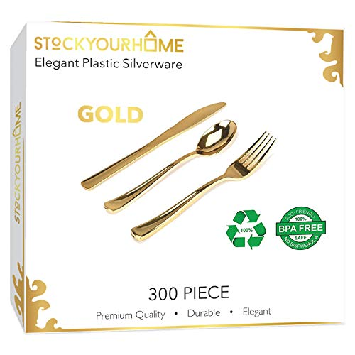 300 Gold Plastic Silverware - Gold Disposable Silverware - Gold Plastic Cutlery - Gold Plastic Utensils - Gold Plasticware - 100 Gold Plastic Forks, 100 Gold Plastic Spoons, 100 Gold Plastic Knives -