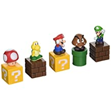 """New Super Mario Bros mini figures bundle (a set of Five ~1"""" figures: Mario, Goomba, Luigi, Koopa Troopa, and Mushroom; Each comes with a ~1"""" mounting block) (Japanese Imported)"""