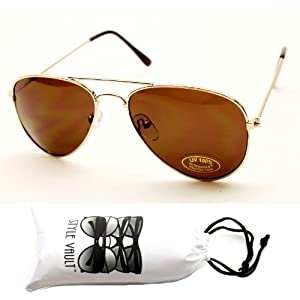 Kd202-vp Kids (3-9yr) Aviator Sunglasses (Sd Gold, Brown Lens)