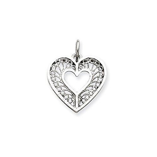 14K White Gold Diamond-Cut Fancy Filigree Heart Charm Pendant