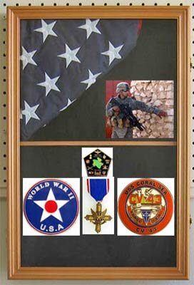 Military Shadow Box Flag Display Case Medal Keepsake Box, Solid Wood, Glass Door, Wall Mountable, FC09-OA