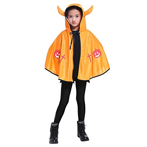 Baby's Halloween Horned Demons Witch 73CM Magic Cape Robe Show Costume Suit (Free Size, Yellow)