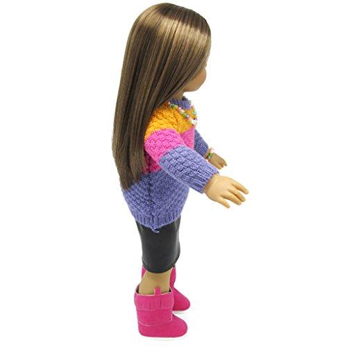 3d715283c7788 Cadeau PU V Girl Fille Pour Robe Enfant Poup eacute e Cuir American  Pullagrave  Manches Sharplace 18   Longues ecirc tement ...