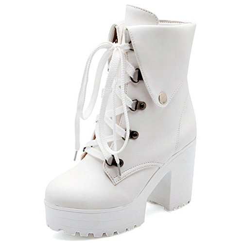 RAZAMAZA Women Lace up Chunky High Heel Ankle Booties LH White qNB3Vq