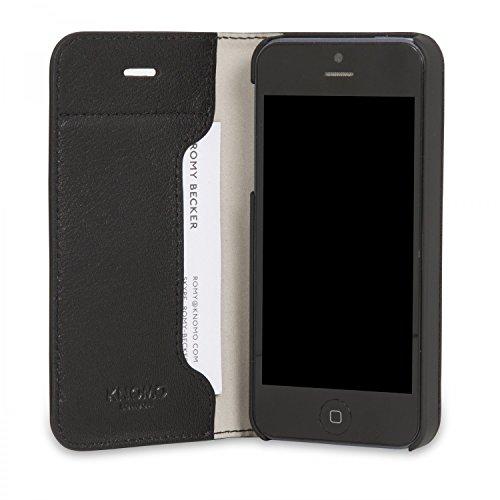 Knomo 90-949-BLA Folio-Kasten für Apple iPhone SE schwarz