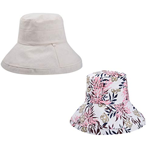 Women Casual Bucket Hat Wide Brim Floppy Foldable Double Side Fisherman Boonie Cap Beach Sun Hats (Beige)