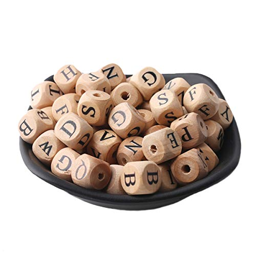 Promise Babe Wooden Beech Letter Beads Baby Teething Chewable Square Beads 150pc 12mm Handmade Jewelry Accessories DIY Making Beads Montessori ()