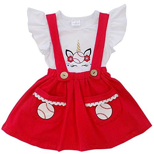 So Sydney Girls Toddler Baseball Summer Dress, Capri Outfit, Baby Bubble Romper (XXXL (8), Unicorn Baseball Suspender) -