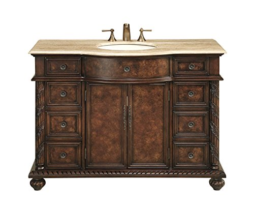 Best Deals! Stufurhome GM-5116-48-TR 48-Inch Amelia Single Vanity in Brown Finish with Marble Top in...