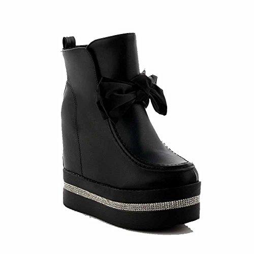 AmoonyFashion Womens Round Closed Toe High Heels Low Top Solid Boots Black QaSpyHvoFa