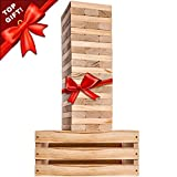 Splinter Woodworking Co. Giant Tower Game   60 Large Blocks   Storage Crate / Outdoor Game Table   Starts Over 2.5ft Big   Max Height of 5ft   Genuine Jumbo Toppling Yard Games   Jumbo Backyard Set