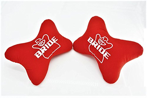 Bride Bone Seat neck Rest Cushion Headrest Pairs with Bride Racing Logo - RED