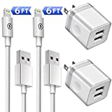 Phone Charger 6ft with Wall Plug (4in1 Pack), DENWAN 6-Foot Long Charging Cable and 2.1A/5V Dual Port USB Wall Block Cube Compatible with Phone XS/XR/X 8/7/6/Plus SE/5S/5C (UL Certified)