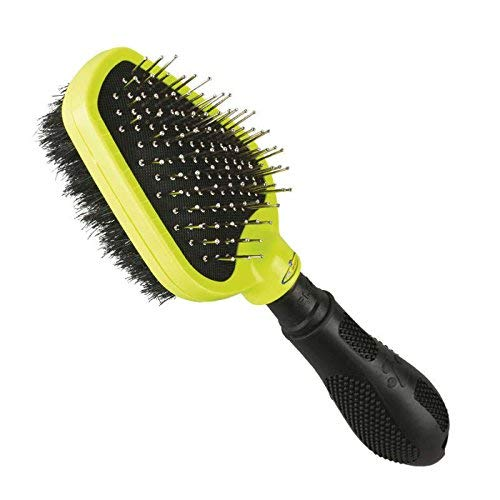 (FURminator Dual Grooming Brush For Dogs Helps Remove Mats Dirt Tangles and Loose Hair with Protective Cover)