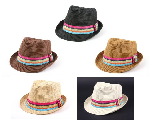 Summer Cool Straw Hipster Fedora Hat Colorful Band 119HF