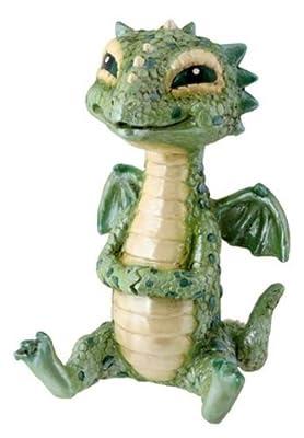 Green Baby Dragon Collectible Serpent Figurine Statue Reptile Statue