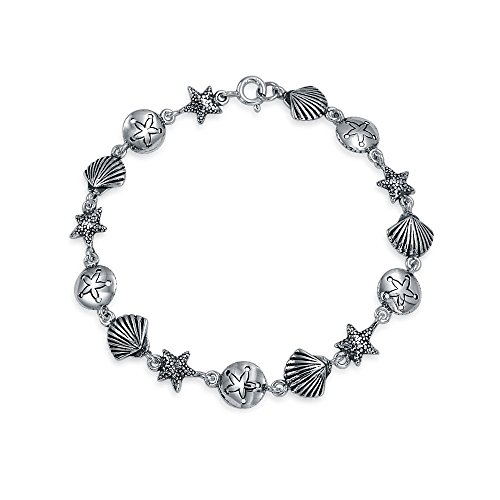 Nautical Multi Charm Sand Dollar Sea Shell Starfish Link Bracelet For Women For Teen Oxidized 925 Sterling ()