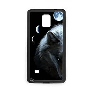 Unique Style Design SamsungNote Phone Case, Wolf with Moon Pattern Case for SamSung Galaxy Note4 (Laser Technology) by lolosakes