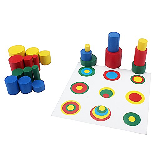 (Montessori Knobless Cylinders Montessori Color Cylinders with Cards Sorting & Stacking Toys Montessori Materials Wooden Cylinders Ladder Blocks Memory Training Game Early Development Toy for Kids)