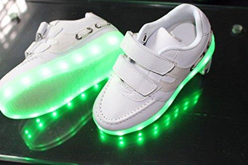 [Present:kleines Handtuch]JUNGLEST® 7 Farben LED Kinder, Jungen, Mädchen führte leuchten Trainer Sneakers Turnschuhe Sportschuh White
