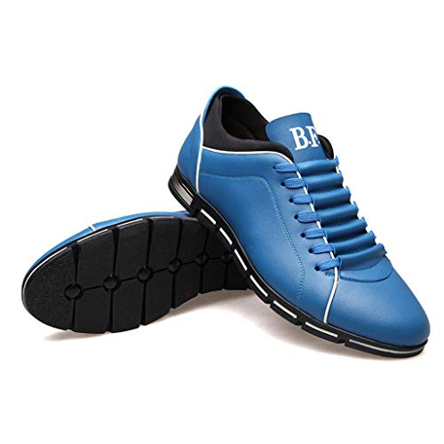 - OrchidAmor Men Fashion Solid Leather Business Sport Flat Round Toe Casual Shoes 2019 Sky Blue