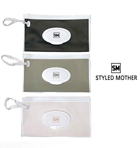 Baby Wet Wipe Travel Case Pouch 3 Pack from Styled Mother Black Gray Beige ()