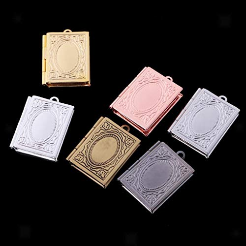 (6Pcs Vintage Women Mens Book Shaped Locket Pendant Photo Frame Charm Gifts)