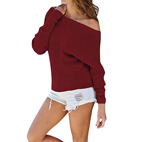 Sunhusing Fashion Women Off-Shoulder Knitted Long-Sleeve Blouse Comfy Solid Color Sweater Wine