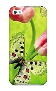 XiFu*MeiQRFZFPI13816IxBKl Case Cover, Fashionable iphone 5/5s Case - Tulips & ButterflyXiFu*Mei